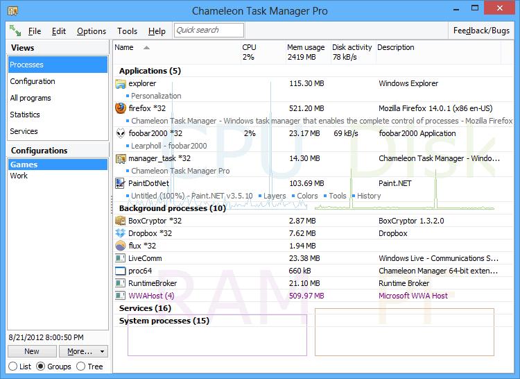 Сhameleon Task Manager - Windows task manager that enables